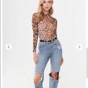 Forever 21 Leopard Print Bodysuit Size S